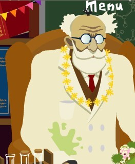 、ミュラー博士の研究室で博士は首飾りをしてる