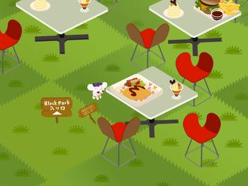 「ブロックパーク」とG.L.L内「ティータイム公園」にカフェの飾り付け